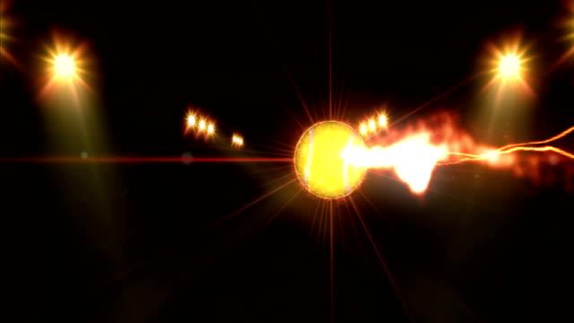 Tennis ball, Illuminated bright yellow color spotlights, In night scene video