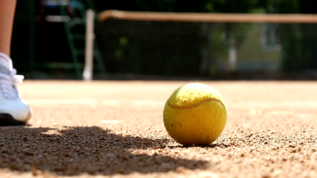 Tennis Ball On The Court Slow Motion video