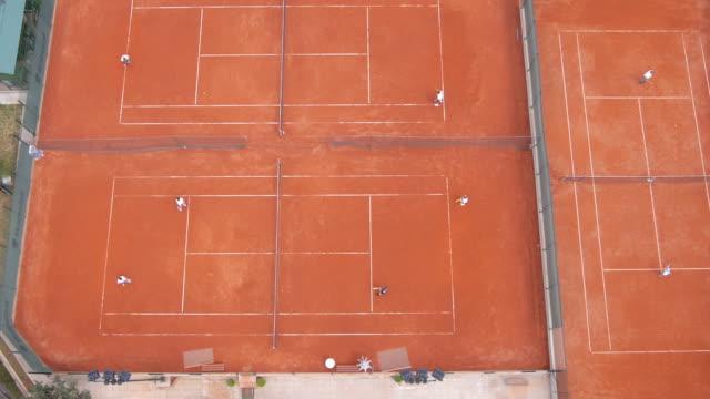 Tennis court aerial video