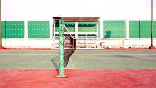 Tennis court with net tracking left video