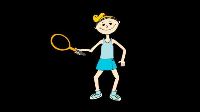 Tennis player cartoon video