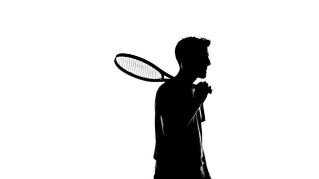 tenis gracz sylwetka - podświetlony filmów i materiałów b-roll