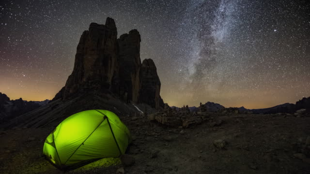 Tent under the Milky Way in the Mountains video