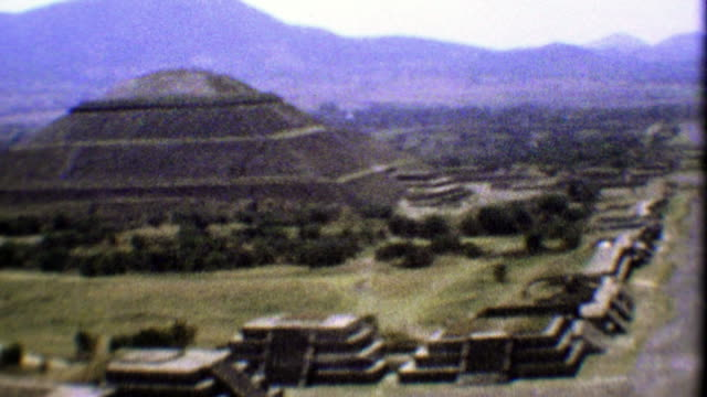 1974: Teotihuacan ancient ruins pan from atop the sacred temple.