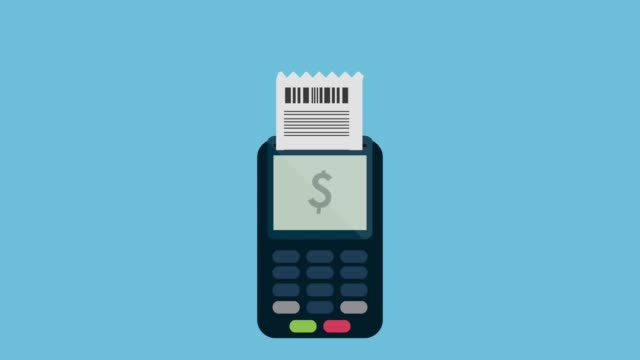 pos terminal processing transaccion - scontrino fiscale video stock e b–roll