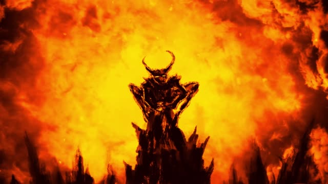terrible dark demon flaps its wings and flies up. - inferno video stock e b–roll