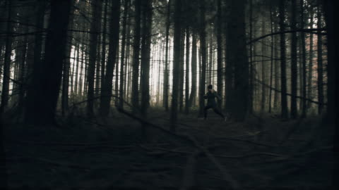 Terrified woman running in the forest Camera stabilization shot of a young woman running like someone or something would chasing her in the deep dark forest. Also available in 4K resolution. fear stock videos & royalty-free footage