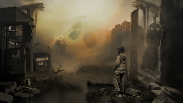 Terror of war. Matte painting. Ruins. Skull. Ecology or sci-fi. video
