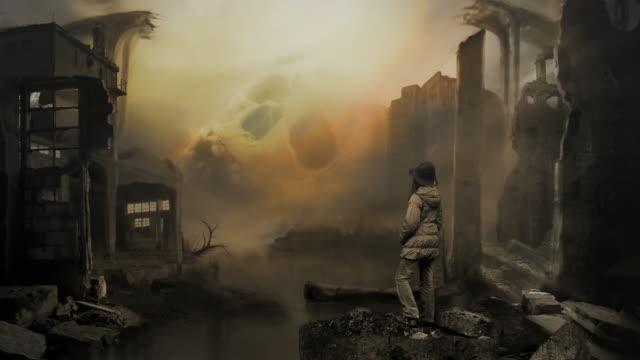 Terror war. Matte painting. Ruinen. Schädel. Ökologie oder sci-fi. – Video