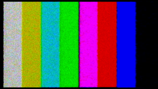TV test. Color bars crash with audio video