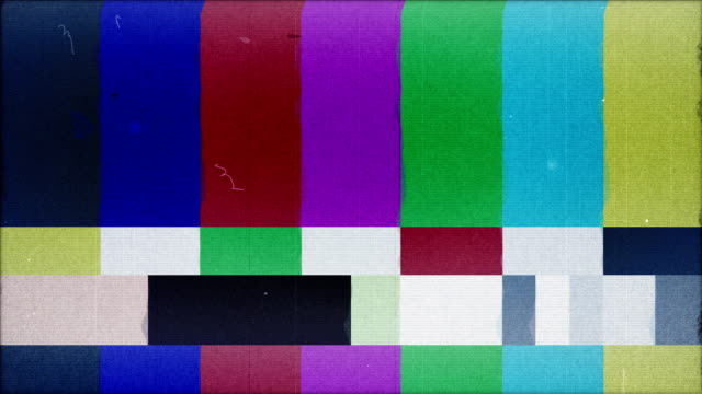 tv test, rumore, jitter e avviare la trasmissione della luce, loop - conto alla rovescia video stock e b–roll