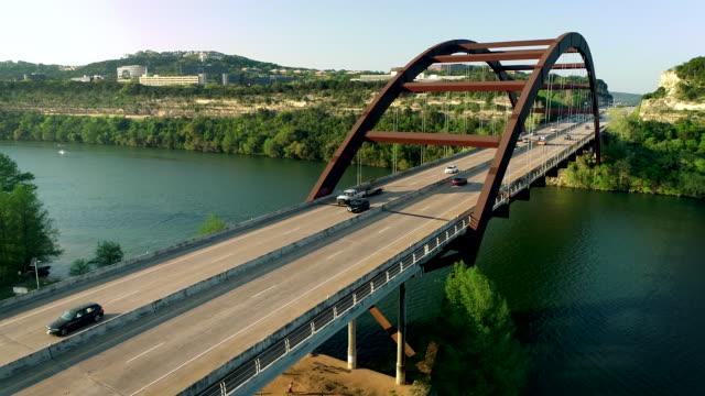 Texas Hill Country Landmark Suspension Bridge in Austin , Texas , USA