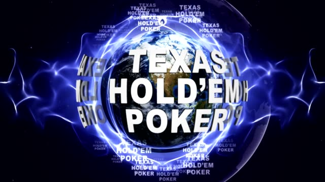 Texas Hold'em Poker Text Animation and Earth, Rendering, Background, Loop video