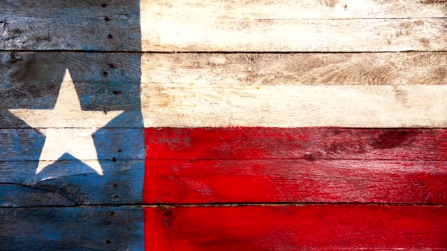 Texas State Flag painted on weathered wooden boards.