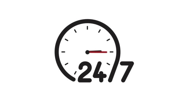 Text: 24/7 service. Transparent background with flying inscription, animation