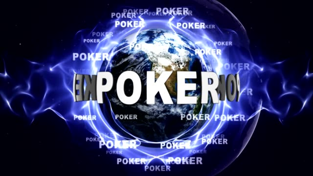 POKER Text Animation and Earth, Loop video