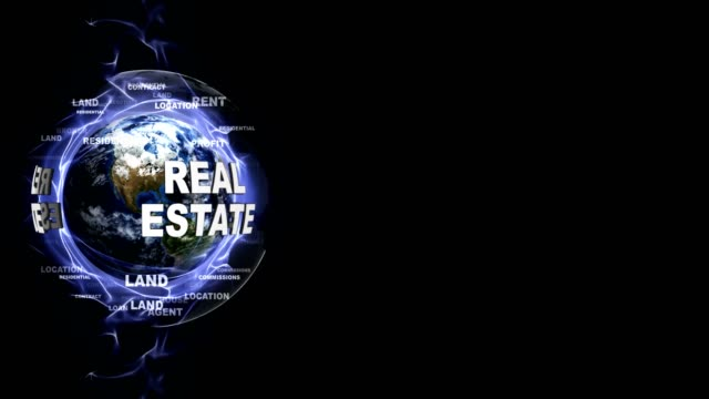 REAL ESTATE Text Animation and Earth, Rendering, Background, Loop