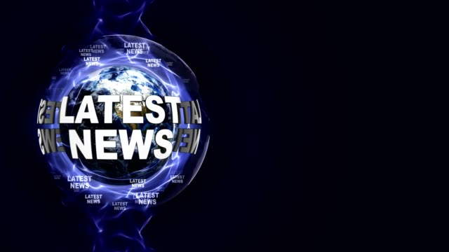 LATEST NEWS Text Animation and Earth, Rendering Background, Loop video