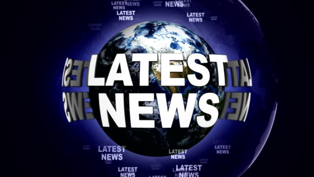 LATEST NEWS Text Animation and Earth, Rendering, Background, Loop video