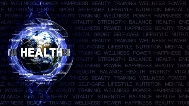 健康テキスト アニメーションとレンダリング、背景、ループ、地球 ビデオ