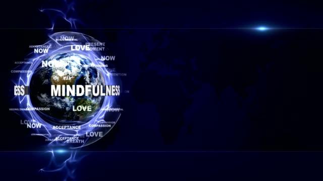mindfulness текстовая анимация и земля, с ключевыми словами, петля - mindfulness стоковые видео и кадры b-roll