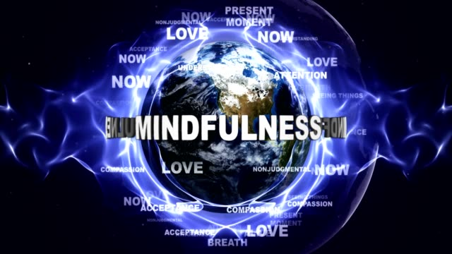 mindfulness metin animasyon ve dünya, anahtar kelimeler, döngü ile - mindfulness stok videoları ve detay görüntü çekimi