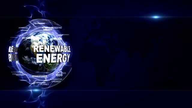 RENEWABLE ENERGY Text Animation Around Earth, Rendering, Background, Loop video