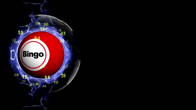 Animación de texto BINGO en la bola de Bingo, Rendering, Fondo, lazo - vídeo