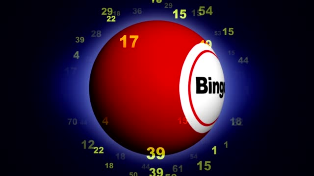 bingo textanimering runt bingo bollen, med alfakanal, rendering, bakgrund, loop - bingo bildbanksvideor och videomaterial från bakom kulisserna