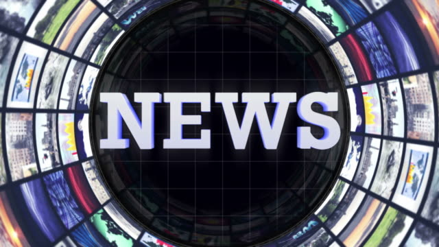 stockvideo's en b-roll-footage met nieuws tekstanimatie op monitoren kamer, lus - magazine mockup
