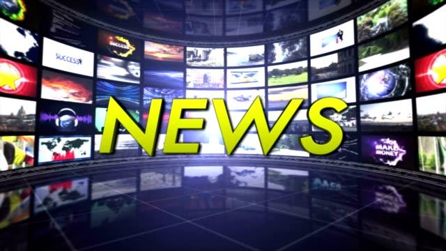 stockvideo's en b-roll-footage met nieuws tekstanimatie op monitoren kamer, rendering, achtergrond, technologie, lus - magazine mockup