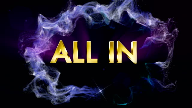 ALL IN (Poker Word) Text Animation in Particles Ring, Loop video