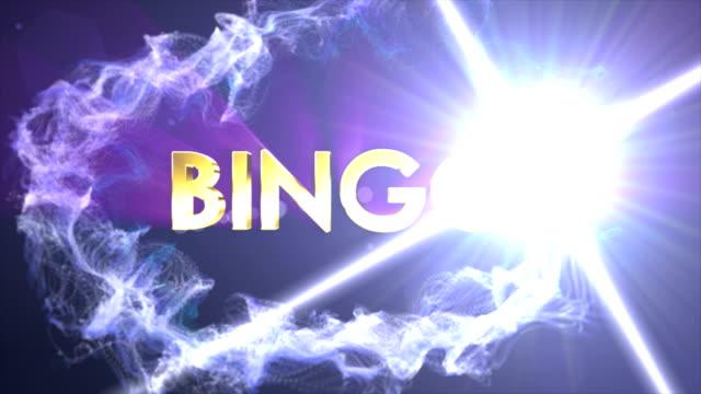 bingo textanimering i partiklar ring, med sista vita övergång - bingo bildbanksvideor och videomaterial från bakom kulisserna
