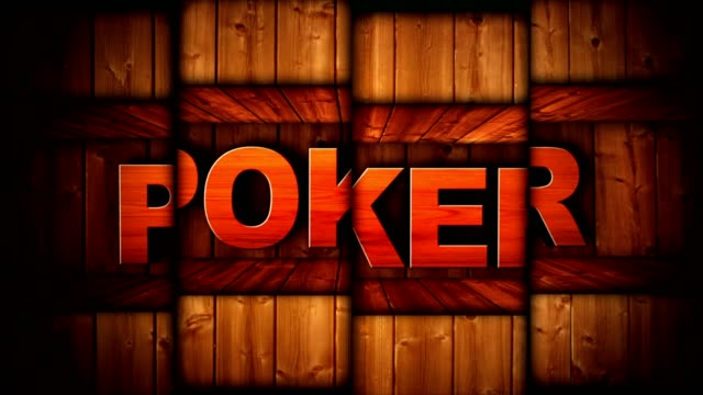 POKER Text Animation in Wood Gate and Slot Machine Combination, Background, Rendering, Loop video