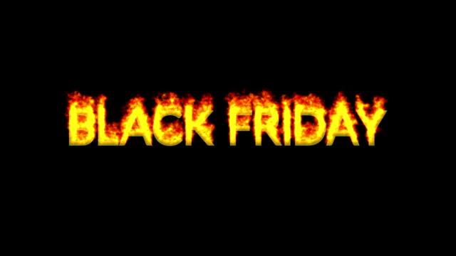 불에 나타나는 블랙 프라이데이 텍스트 - black friday 스톡 비디오 및 b-롤 화면