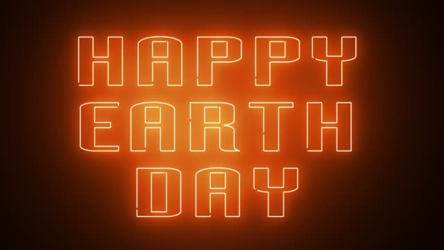 HAPPY EARTH DAY text, backdrop, computer generating, can be used for holidays festive design video