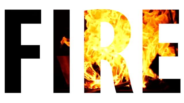 Text fire white inscription video