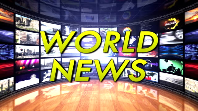 WORLD NEWS Text in Monitors Room, Loop video