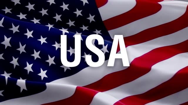 미국 국기 배경에 미국 텍스트. 독립기념일, 미국 현충일. 콜럼버스 의 날 플래그 미국 디자인 미국 배경에 고립. 미국 재향 군인의 날. 미국 국기 배경. 미국 컨셉 - columbus day 스톡 비디오 및 b-롤 화면