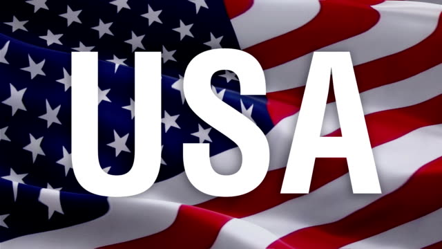 미국 국기 배경에 미국 텍스트. 독립기념일, 미국 현충일. 콜럼버스 의 날 플래그 미국 디자인 미국 배경에 고립. 미국 재향 군인의 날. 정치 대통령 개념 - columbus day 스톡 비디오 및 b-롤 화면