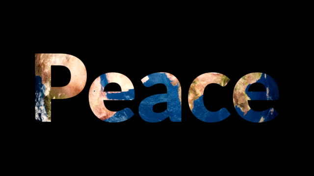 Text Peace revealing turning Earth globe video