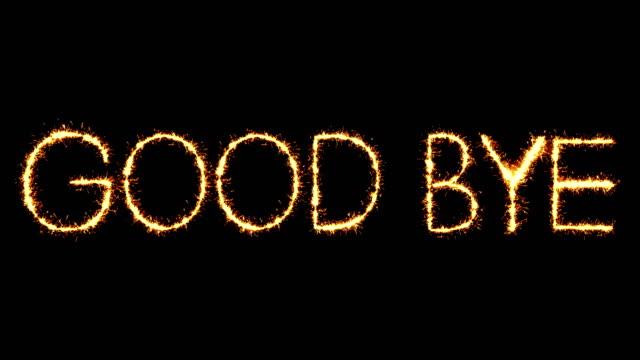 GOOD BYE Text Sparkler Glitter Sparks Firework Loop Animation