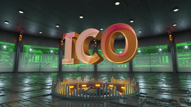 ICO text surrounded by data screens appears in the middle of hi-tech room - vídeo
