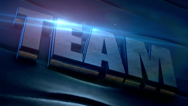 3D text team from metal texture on blue background with blue lens flare. Teamwork, business concept