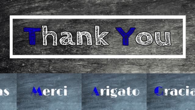 Text 'Thank you' with similar meanings in Arabic, Spanish, Japanese language