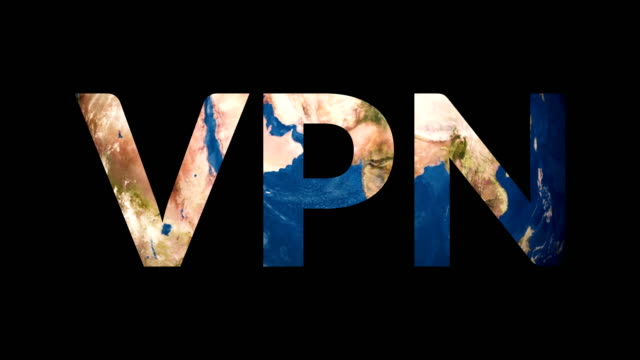 Text VPN revealing turning Earth globe