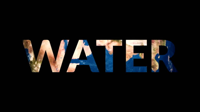 Text Water revealing turning Earth globe Text Water revealing turning Earth globe 4K water wastage stock videos & royalty-free footage
