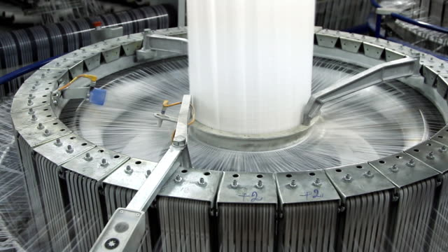 Textile industry - spinning machine in a factory video