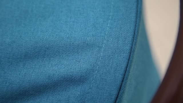 Texture of blue fabric on a baby carriage video
