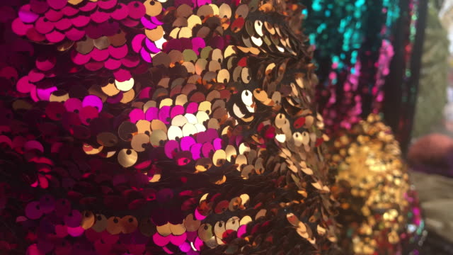 Texture scales with bright Sequins close-up Texture scales with bright Sequins close-up sequin stock videos & royalty-free footage